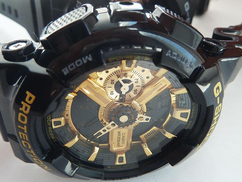 часы 110 ААА чёрные с золотом, глянцевый ремешок  - 2