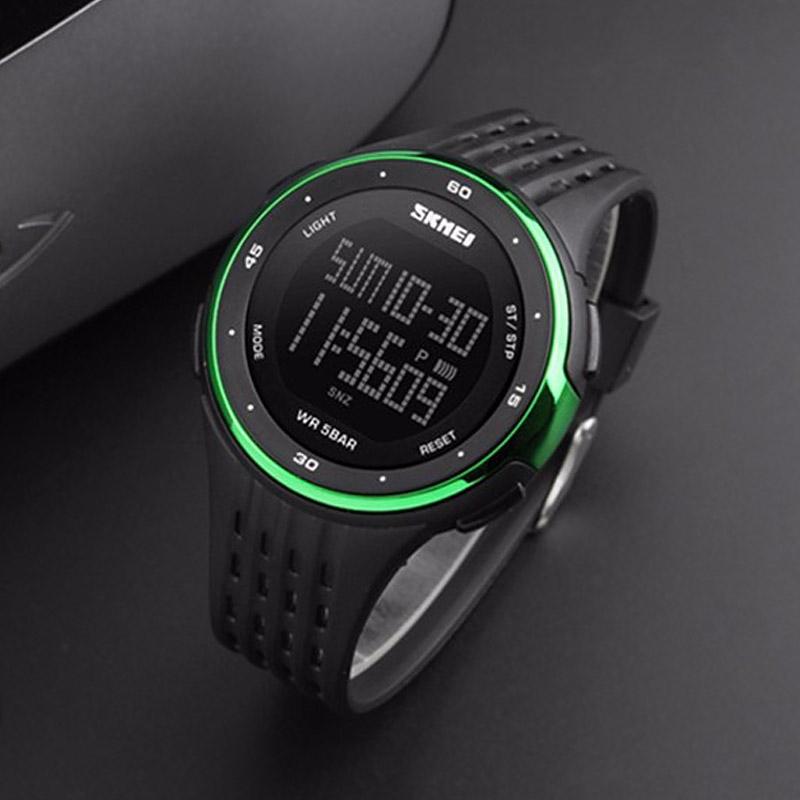 часы SKMEI 1219 GERRN чёрные с зелёным - 2