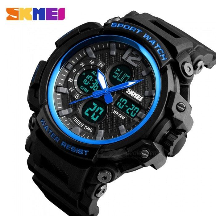 часы SKMEI 1343 чёрные с синим - 3