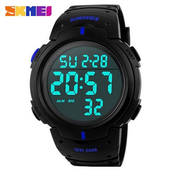 часы SKMEI 1068 чёрные с синим - 1