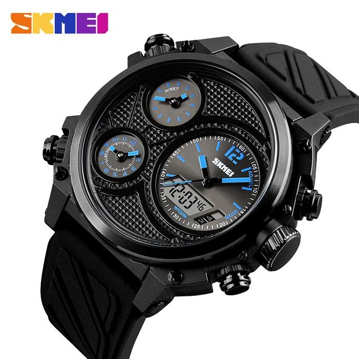 часы SKMEI 1359 чёрные с синим - 2