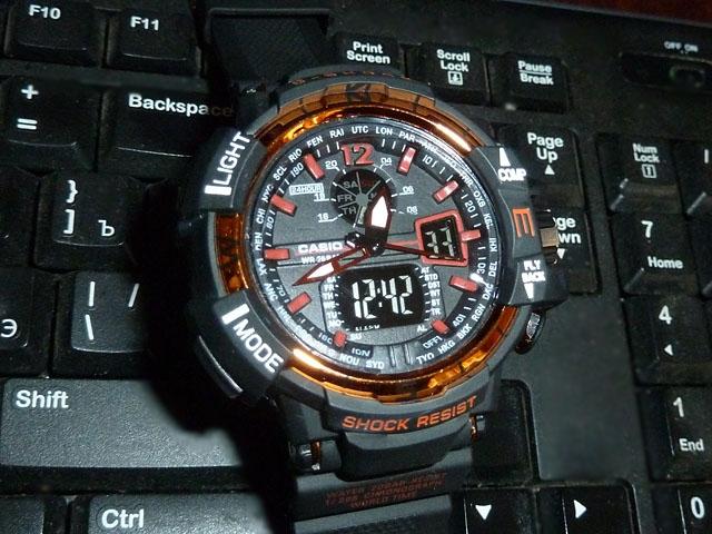часы  1100 черные с оранжевым металликом - 1