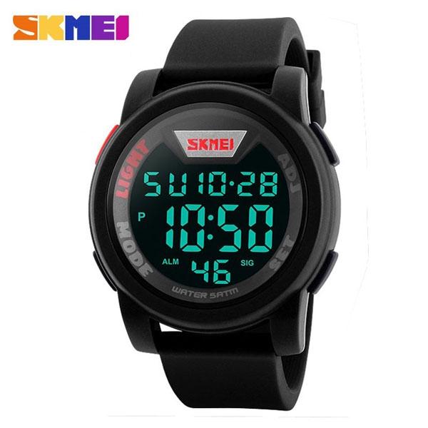 часы SKMEI 1218 Black Red (чёрные с красным) - 1