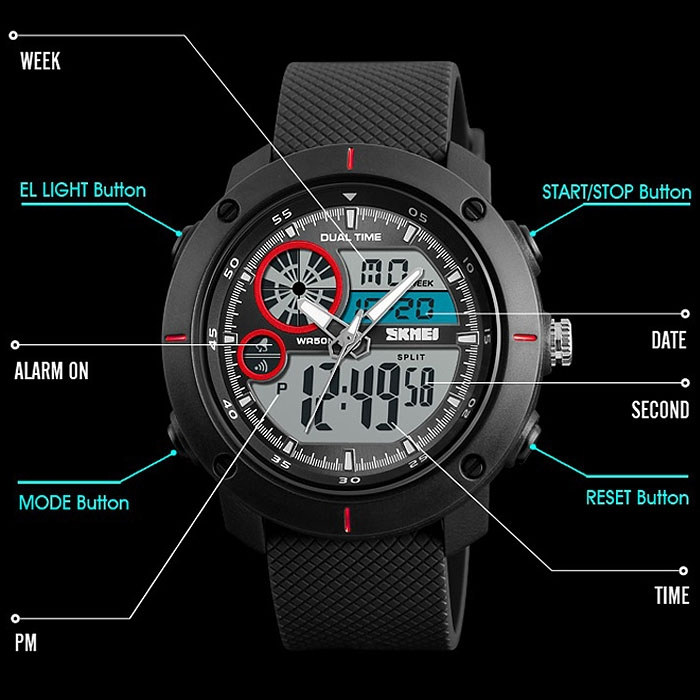 часы SKMEI 1361 чёрные с красным - 4