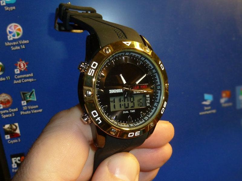 часы SKMEI solar 1064 чёрные/золото - 1