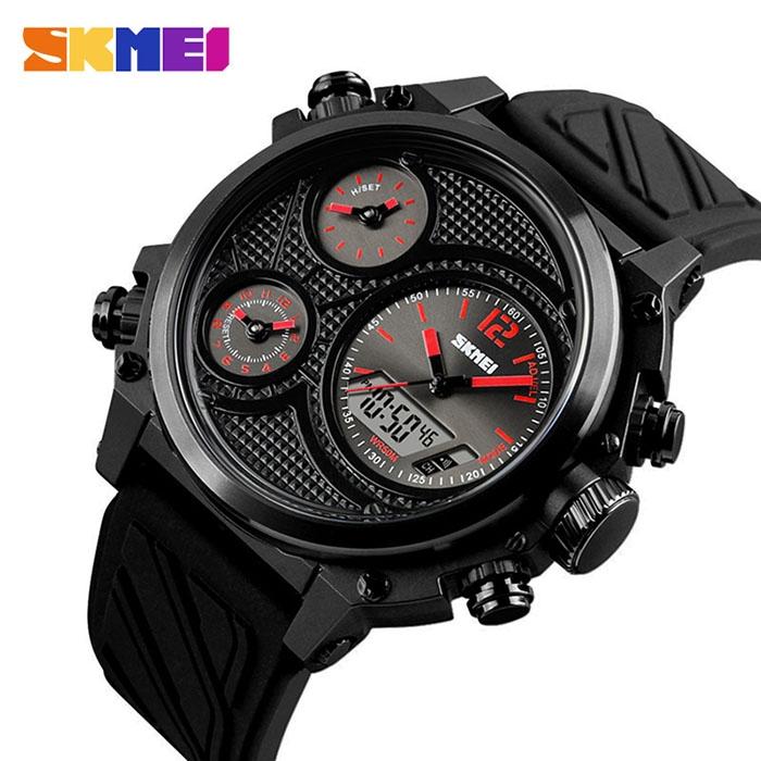 часы SKMEI 1359 чёрные с красным - 1