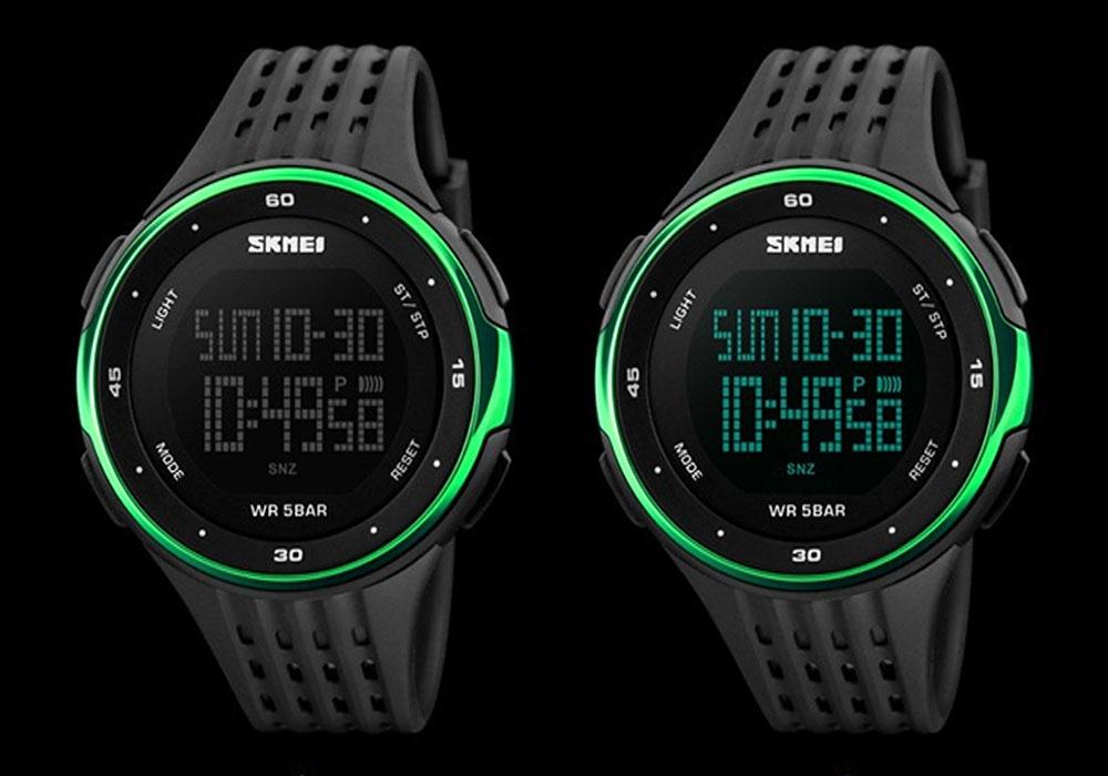 часы SKMEI 1219 GERRN чёрные с зелёным - 1