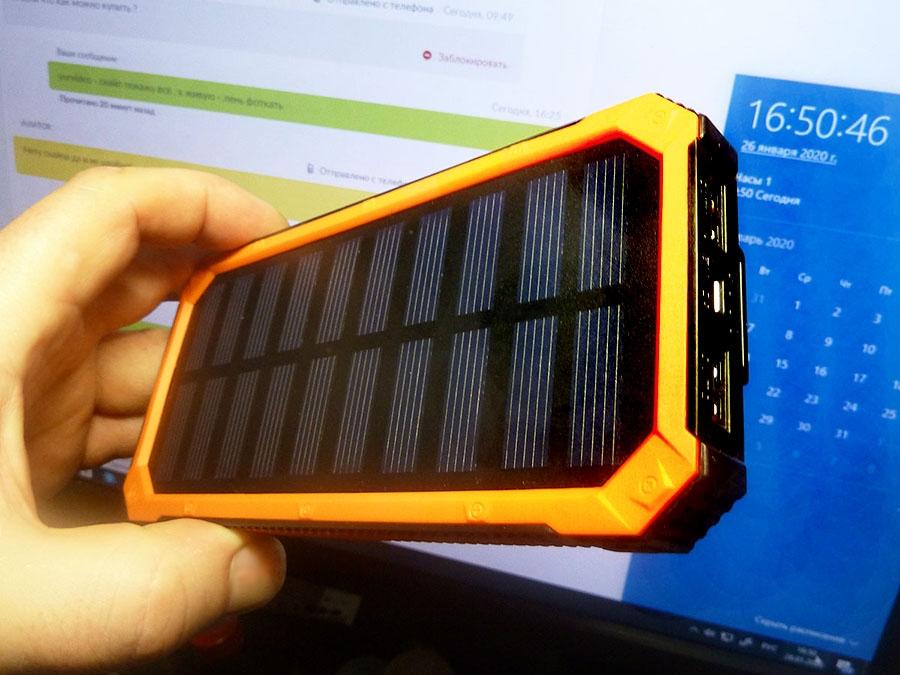 Power Bank Solar 12000 mAh туристический - 6