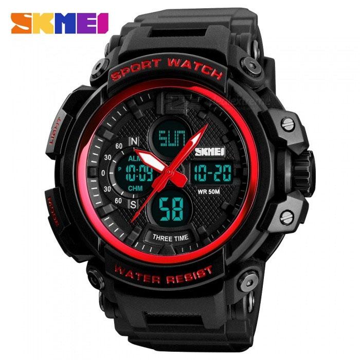 часы SKMEI 1343 чёрные с синим, красный ремешок - 1