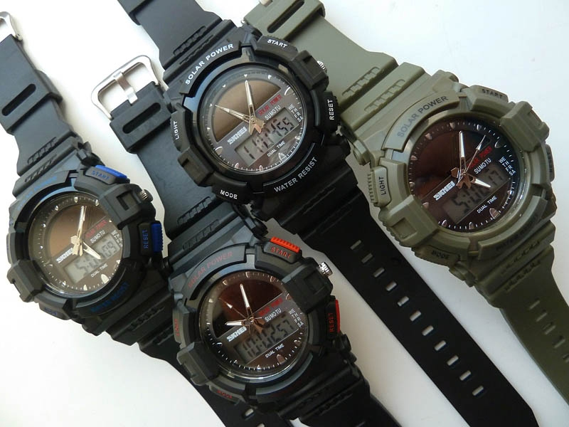 часы SKMEI solar 1050 чёрные с красным - 4
