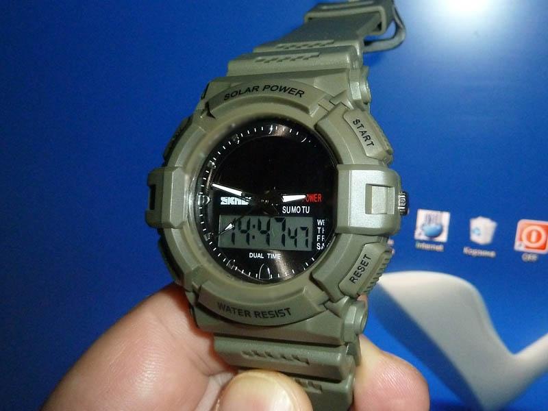 часы SKMEI solar 1050 зелёные (хаки) - 1