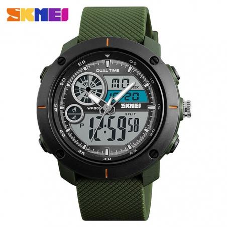 часы SKMEI 1361 чёрные, зелёный ремешок