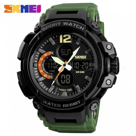 часы SKMEI 1343 чёрные, зелёный ремешок