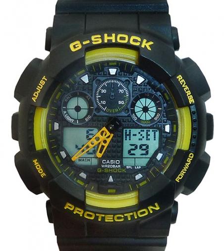 часы 100 черные с жёлтым шрифтом