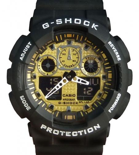 часы 100 чёрные с золотым циферблатом